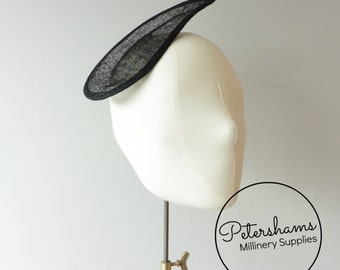Ridged Teardrop Millinery Sinamay Hat Base for Fascinators and Cocktail Hats - Black