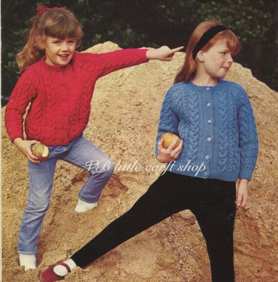 Childs aran cardigan knitting pattern. Instant PDF