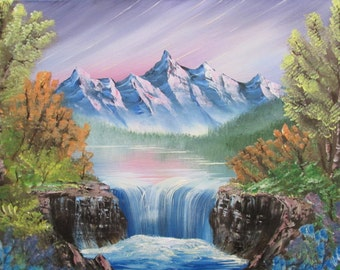 Misty Mountain Pool and Waterfall, an original oil painting