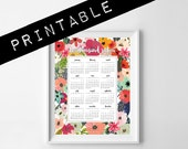 2016 PRINTABLE calendar. 1 page letter size 8.5x11in. botanical calendar. floral calendar. wall calendar