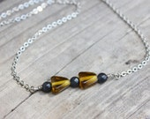 Triangles Necklace | Mustard Yellow/Brown and Gray Glass Bead Necklace | Women's Geometric Jewelry | Arrows II