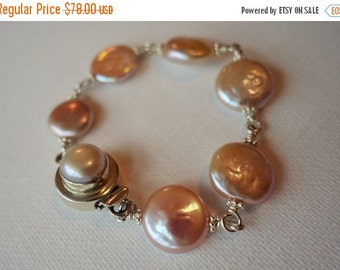 20% off, Sterling silver and freshwater coin pearl bracelet, artisan quality, wire wrapped