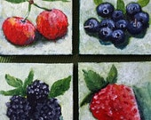 Still Life w.Berries - Miniature Acrylic Paintings on Canvas