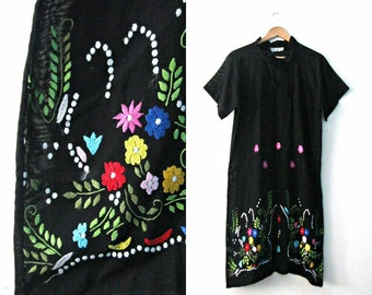 Vintage 40s embroidered dress /  black sheer gauzy cotton / Bohemian Folk Paraguay dress