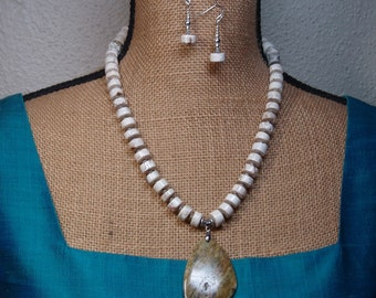 American White Buffalo Turquoise, Sea Sediment Gemstone pendant, 925 Silver Necklace and Earrings