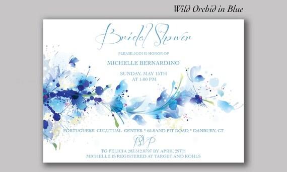 Blue Orchid Wedding Invitations: DIGITAL Wild Orchid Invitation BLUE Or PINK Orchid Bridal