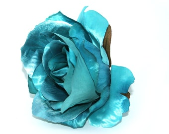 Metallic Turquoise Rose - Artificial Flowers, Silk Roses - PRE-ORDER