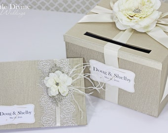 Wedding Card Box Guest Book Set Champagne and Ivory Money Holder Custom Made