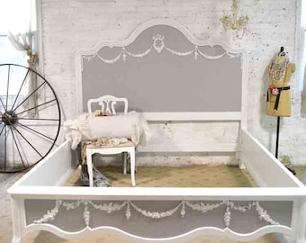 Painted Cottage Shabby Farmhouse Romantic Bed BDHKGRAY