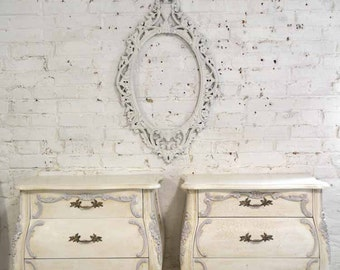 Painted Cottage Chic Shabby Romantic French Bombay Night Table