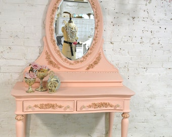 Painted Cottage Chic Shabby Romantic French Vanity and Mirror VAN709