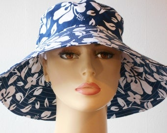 Bucket Hats Large Brim for Sun Protection Chemo hat Hawaian Floral in Blue
