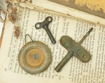 Vintage Clock Pendulum and 2 Vintage Keys Parts