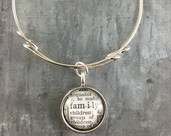one word charm bangle bracelet- FAMILY