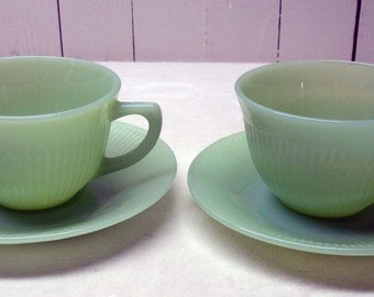2 Vintage Fire King Jane Ray Cup & Saucer Sets Jadeite