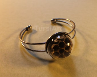 Paper Wasp Nest Bracelet Honeycomb Bracelet Bee Hive Bracelet Real Nest preserved Silver Bangle Umbrella Wasp Hornet Gift for Teacher Glass