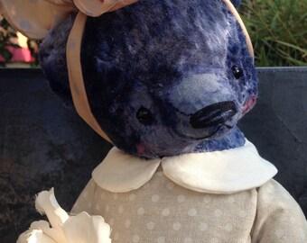18 inch Artist Handmade Plush Teddy Bear Girl with a pearl earring by Sasha Pokrass