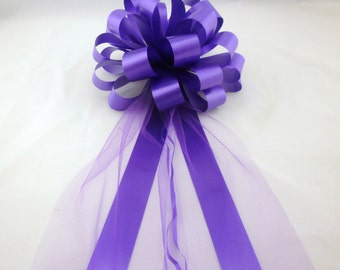 10 Purple or Royal Pew Pull Bows Tulle Wedding Decorations Church Aisle