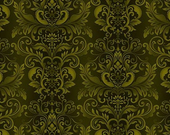 Henry Glass - Welcome Harvest - Forest Damask - Fabric by the Yard 8519-68