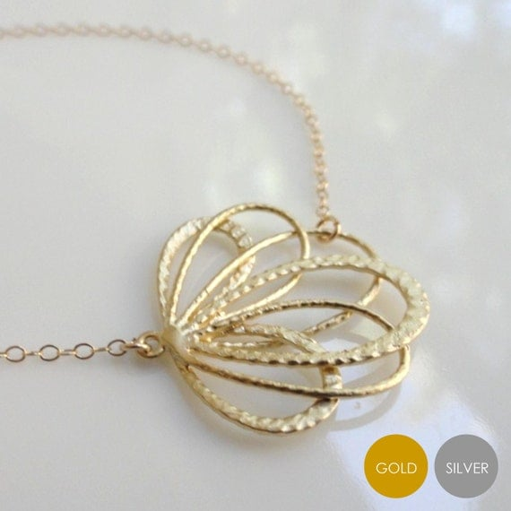 Fan Flower Necklace- Gold Fan Flower Necklace- Silver Fan Flower Necklace- Gold Flower Necklace- Silver Flower Necklace- NGS-FL4