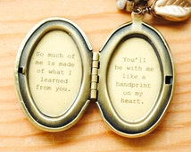 So much of me is made of what I learned from you - Broadway Jewelry - Wicked - Quote Locket - Womens Locket - Friendship Locket