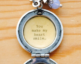 You make my heart smile - Quote Locket - Daughter Gift, Friendship Locket