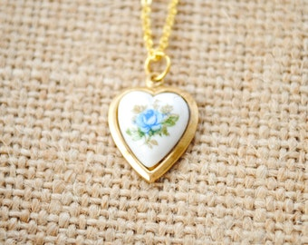 Petite Blue Rose Cabochon Heart Necklace - Girl Necklace, Children Jewelry, Valentine's Day, Flowergirl Jewelry