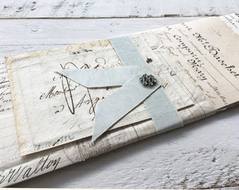 Beautiful handwritten pages from 1800's, old receipt, with vintage french envelope fragment