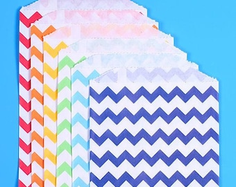 Happy Rainbow Favor Bags, Chevron Favor Bags, Rainbow Treat Bags, Rainbow Goodie Bags, Paper Gift Bags, Candy Buffet Bags, Sweet Bags (18)