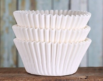White Cupcake Liners, BakeBright Cupcake Liners, White Baking Cups, Cupcake Cases, Cupcake Wrappers, White Paper Cupcake Liners (60)