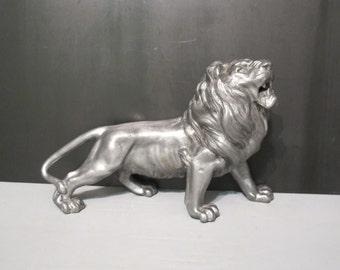 Vintage Lion Sculpture / Silver Metal Roaring Lion Figurine, Leo Wild Cat Statute, Nature Inspired Animal Library Shelf Decor Desk Accessory