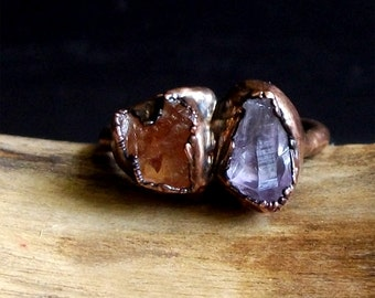 Rough Stone Jewelry Raw Crystal Amethyst Garnet Size 8.5 Ring Dual Stone Size Ring Birthstone Ring Copper Gemstone Ring