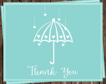 Bridal Shower, Thank You Cards, Aqua, Wedding, Hearts, 24 Printed Notes with Envelopes, FREE Shipping, SHWLA, Shower Her With Love Blue