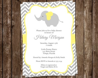 Elephant, Baby Shower, Invitations, Yellow, Gray, Chevron Stripes, Gender Neutral, Little Peanut, 10 Printed Invites, Free Shipping, CELGN