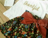 Thanksgiving Outfit- Thankful -Baby Toddler Girls Skirt Set- Gold Sparkly Shirt -Vintage Brown Floral High Waist Skirt with Sash- Turkey Day