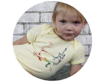 Cat With Horn Shirt, Screen-printed Clothing, Rainbow Ink, Short Sleeved, Hand Printed, Cotton Shirt Unisex infant One Piece Onepiece romper
