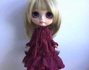 Blythe Long Sleeve Dress : Red Velvet , Japanese Fabric , Vintage  Inspired