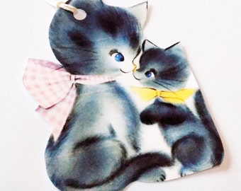 Mom N Baby Cats - Gift Tags - Set of 3 - Retro Kitty Tags - 1050's Cat Tags - Thank Yous - Cat Family Tags - Kitty Love Tags