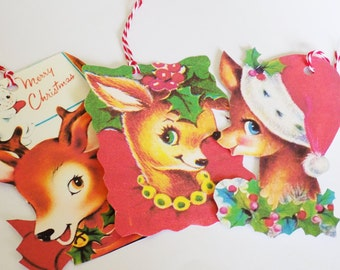 Christmas Deer Tags - Retro Deer - Set of 3 - Variety Deer Tags - Mid Century Xmas - Holiday Deer - Retro Christmas - Kitsch Gift Tags