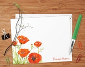 Red Poppies - Set of 8 CUSTOM Personalized Flat Note Cards/ Stationery