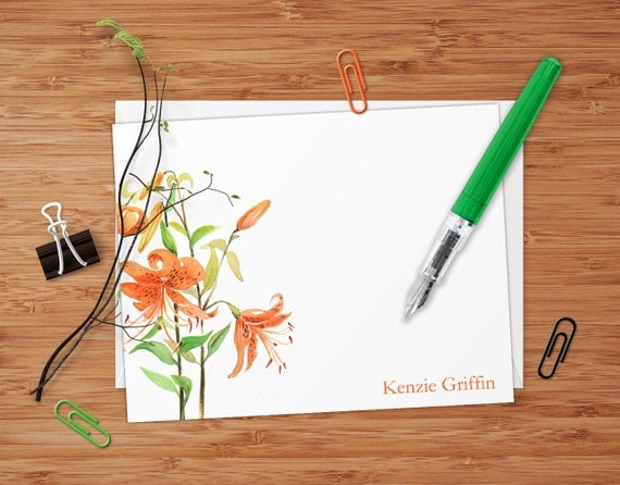 Tiger Lilies - Set of 8 CUSTOM Personalized Flat Note Cards/ Stationery