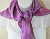 Silk Square Scarf, Recycled Sari Scarf, Fuschia Pink Neck Scarf, Patterned Silk Head Scarf