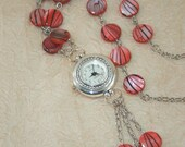 Womens Watch Pendant, Deep Coral Colored Shell Disc Beaded Necklace Watch, Quartz watch