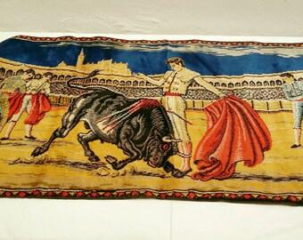 1960s Matador Bull Ring Spanish  Tapestry