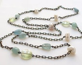 Aquamarine Phrenite Pearl Layering Long Necklace Oxidized Sterling Silver