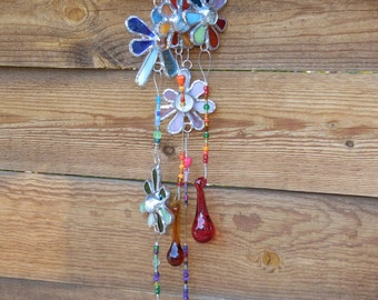 Stained Glass Mobile with Flowers - Rainbow Colors - House Warming - Glass Drops - Handmade - Suncatcher - Anniversary - Birthday - Awesome