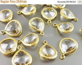 15% OFF 2 clear crystal 13mm glass pendants, bezel frame glass charms, diy jewelry / jewellery 5064G-CL-13 (bright gold, clear, 13mm, 2 piec