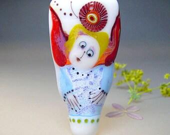 Artist handmade lampwork glass bead -Angel, Flowers - Glassartist Manuela Wutschke