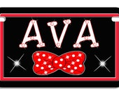 "Bow Tie Polka Dots Motorcycle Size License Plate Any Text-Name Personalize Gifts Ladies Girls 4"" x 7"" Bikes Trikes ATV"
