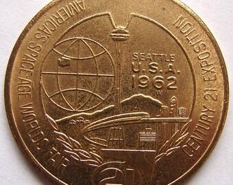 1962 SEATTLE WORLD'S FAIR Century 21 Exposition One Dollar Coin Toke Souvenir medal